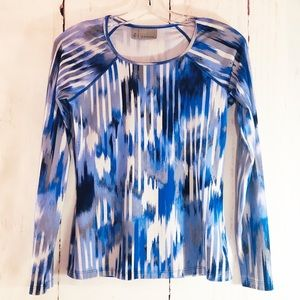 ATHLETA | Blue Ikat Long Sleeve Running Shirt XS
